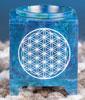 Aromalykta med livets blomma, blå