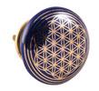 Dörrknopp i keramik med Livets blomma, mörkblå