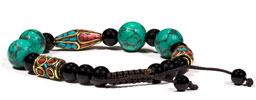 Armband med turkos, svart onyx och korall