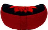 Meditationskudde, halvmåne Lotus röd och svart