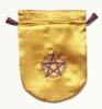 Tarotpåse, pentagram, gul satäng