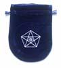 Tarotpåse, 3 pentagram, blå sammet